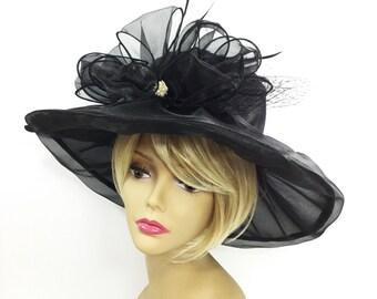 Elegant Ladies Sheer Black Ribbon Tea Party Hat, Summer Hat, Dress Up Hat, Headpiece For Weddings, Dress up, Bridal Showers, Tea time #A751