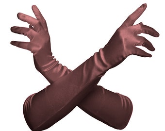 Dark Brown Satin Ladies Gloves Perfect for Opera, Wedding, Evening Wear, Bridal, Party, Prom, Prop, Bridesmaid Gift #A190