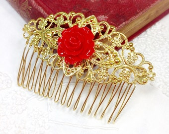 Antique Red Rose Cabochon Gold Filigree Hair Comb Pin For Valentines, Mothers Day, Wedding, Bridesmaid Gift, Shabby Chic, Victorian #394