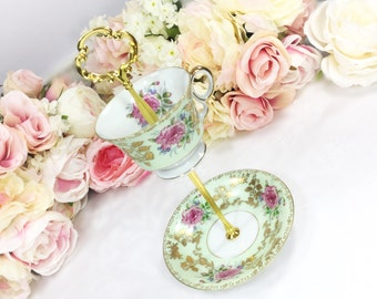 Mint Green Gold Floral 2 Tier Server, Tray Tid Bit Dish, for Wedding, Baby Bridal Shower, Birthday, Tea Party #643