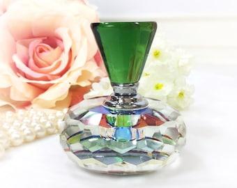Green Crystal Perfume Bottle, Multi Colored Crystal Perfume Bottle, Vintage Perfume Bottle for Vanity Decor or Boudoir Decor #B341
