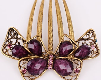 Austrian Crystal Purple & Gold Bow Colored Hair Comb, Hair Pin, Hair Jewelry, Bridesmaid Gift #A336