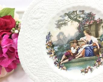 Royal Cauldon England Colonial Couple Display Plate, Fragonard, Love Story, Courting Couple Porcelain Plate, Wall Decor #A648