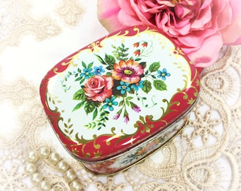 Victorian Inspired Floral Tea Tin, Floral Tin Tea Caddy, Tea Storage for Tea Time, Photography Prop,Made in England #B351