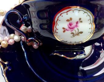 Vintage Cobalt Blue Bavaria German 3 Pc. Pink Floral Tea Set Trio Teacup Saucer Dessert Plate Weddings Tea Party Shower Gift #313