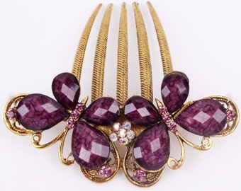 Antique Austrian Crystal Amethyst Colored & Gold Butterfly Hair Comb Pin, Valentines, Bridesmaid Gift #A353, A438
