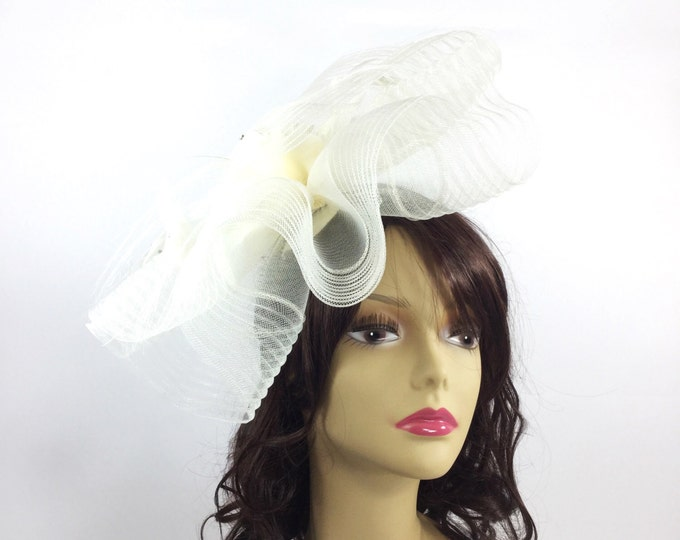Ivory Beige Fascinator Hair Clip Pillbox Tea Hat Sinamay Hair Band Headpiece For Weddings, Dress up, Bridal Showers, Tea time #A118