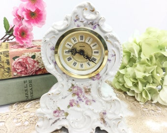 Porcelain Mercedes Movement Mantle Wind Up Clock West Germany, Mercedes Clock, Victorian Wind Up Clock, Shabby Chic Home Decor, Prop #B408