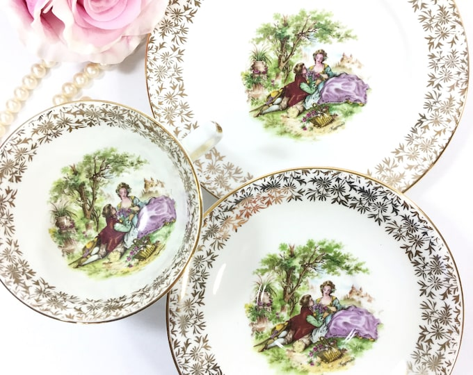 Fragonard English Bone China Trio Tea Set, Courting Couple Cup, Saucer, Plate for Tea Set Tea Party, Wedding #B007