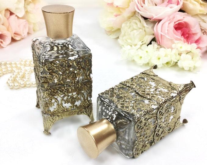 Gold Filigree Perfume Bottle For Vintage Vanity Dresser Tray, Boudoir, Dresser Tray, Vintage Perfume Bottle, Photo Prop #A459