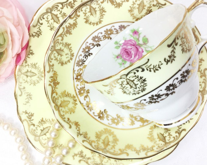 Gilt Yellow Floral English Tea Trio, Yellow Fine Bone China English Tea Cup, Saucer, Plate For Wedding Shower, Tea Time, Tea Party #A425