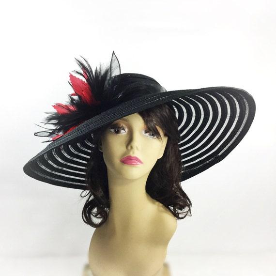 Stunning Red   Black Tea Party Hat Summer Hat Dress Up Hat  b9eba46d83ca
