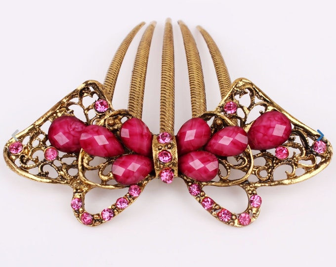 Austrian Crystal Pink & Gold Bow Colored Hair Comb Pin, Hair Clip, Hair Jewelry, Bridesmaid Gift #A338