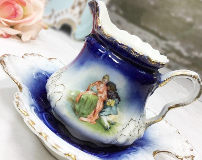 P.M Bavaria Cobalt Blue Portrait Gold Gilt German Creamer, Trinket Dish Germany, Pin Dish, Wedding, Bridal Shower, Home Decor, Gift #477