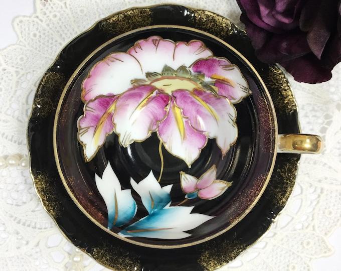 Purple Floral Black Royal Sealy China Tea Cup & Saucer, Tea Set 4 Tea Party, Wedding Shower, Tea Time, Bridal, Tea Party, Gift  #953