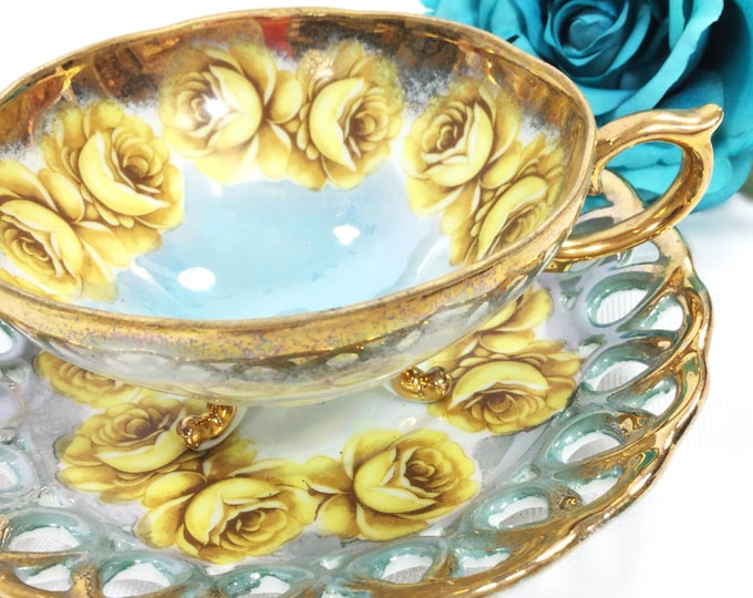 Lusterware Footed Cup & Reticulated Saucer, China Tea Set, for Wedding, Shower, Tea Time, Bridal, Tea Party, Gift #A237