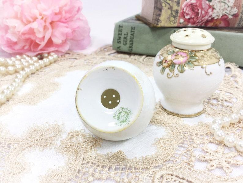 Romantic Setting #B386 Antique Japan Nippon Moriage Salt Pepper Shakers Gold Gilt Formal Silver Salt and Pepper Shaker Formal Dinner