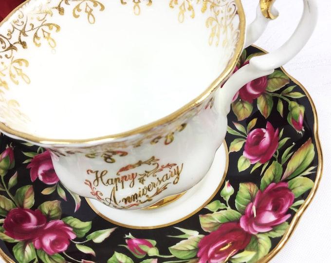 Royal Albert Crimson Glory, Anniversary Floral Chintz Tea Cup & Saucer Teaset For Tea Party, Wedding, Party Favor #A201