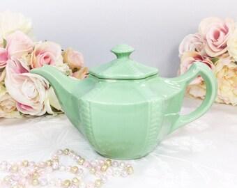 Elegant Vintage Green Celadon Hall Teapot For Tea Time Tea Party, Baby Shower, Wedding, Gift #508