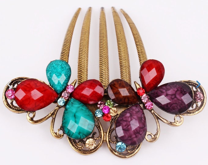 Stunning Austrian Crystal Multi Colored Gold Colored Hair Comb Pin, Bridesmaid,  Gift #A337