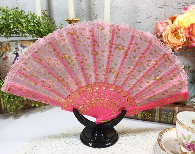 Pink Spanish Lace Floral Folding Fan For Weddings, Dress up, Bridal Showers, Gift, Tea Party, Tea Time, Church #784