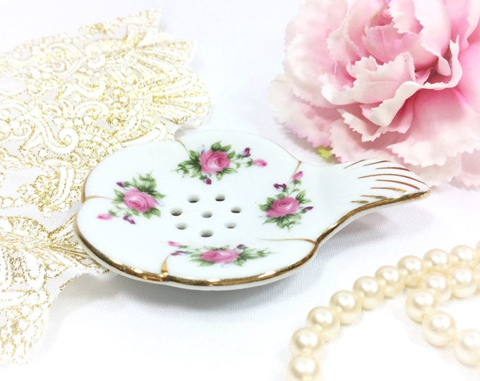Nippon Inspired Porcelain Pink Rose Tea Strainer For Tea Time, Rose Tea Strainer for Tea Time, Tea Party, Wedding #A809