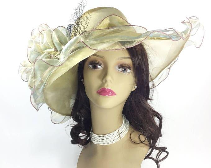 Fabulous Metallic Ladies Brown Tea Party Hat, Summer Hat, Dress Up Hat For Weddings, Dress up, Bridal Showers, Tea time #B231