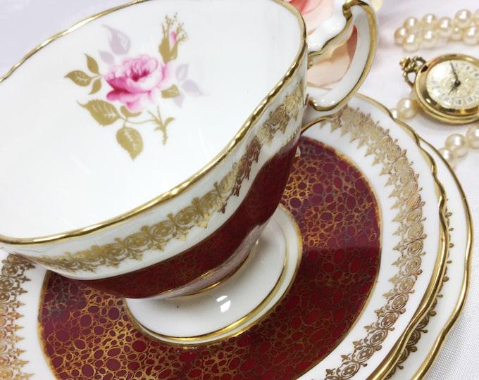 Hammersley Burgundy English Tea Trio, Fine Bone China English Tea Cup, Saucer, Plate For Wedding Shower, Tea Time, Bridal, Tea Party #A73