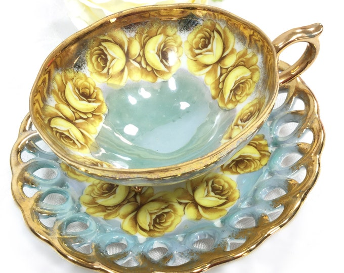 Lusterware Footed Cup & Reticulated Saucer, China Tea Set, for Wedding, Shower, Tea Time, Bridal, Tea Party, Gift #A234