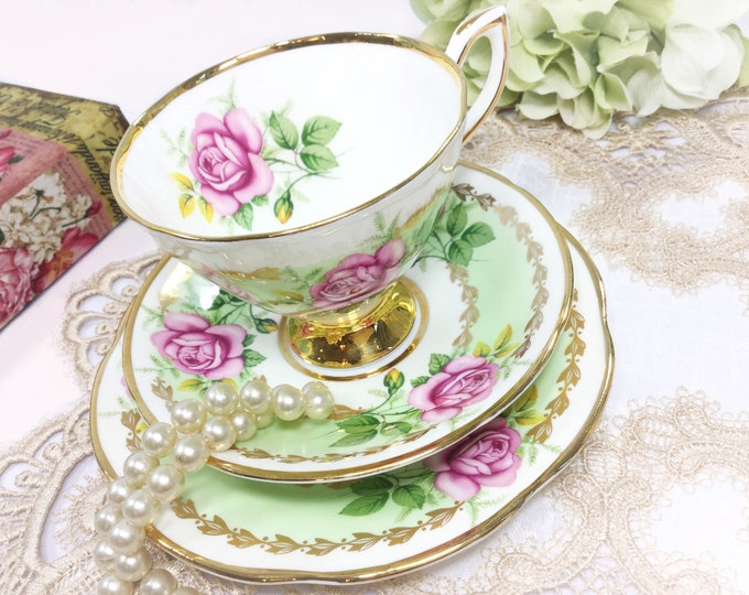 Clare Pink Rose English Tea Trio, Bone China English Tea Cup, Saucer, Plate For Tea Time,  English Tea Party #B409