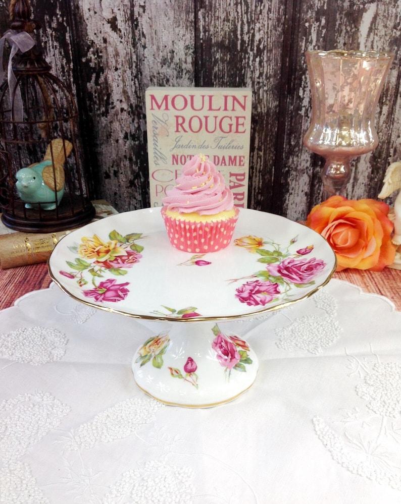 Stunningly Elegant Vintage Hammersley Morgans Rose Fine Bone China Cake Dessert Pedestal Stand Tea Party Wedding Shower Tea Time Gift #081