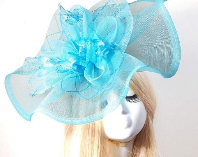 Large Aqua Blue Ladies Feather Large Sinamay Fascinator Hair Clip Tea Hat Headpiece For Weddings, Dress up, Bridal Showers, Tea time #626