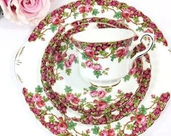21 Pc Royal Stafford English Tea Set, Olde English Garden Tea Set, English Trio, Fine Bone China Tea Cup, Saucer, Plate, Tea Party #B057