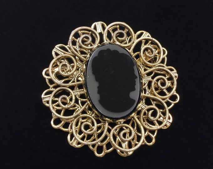 Vintage Black Silhouette Cameo Brooch, Black Cameo Brooch With Gold Filigree Accents, Cameo Jewelry, Victorian #A414