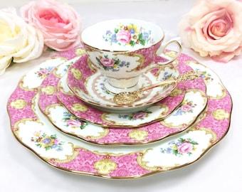 Royal Albert Lady Carlyle 5 Pc Set, English Bone China, Teacup, Saucer, Dessert, Salad, Dinner Plate, Malvern Shape, Dinnerware Set #A216