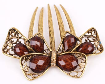 Vintage Austrian Crystal Gold & Brown Colored Hair Comb, Decrorative Hair Pin, Hair Jewelry, Bridesmaid, Gift #A363