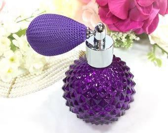 Purple Glass Cut Perfume Atomizer, Purple Perfume Spray Bottle for Vanity Decor or Boudoir Decor, Hollywood Regency # B062