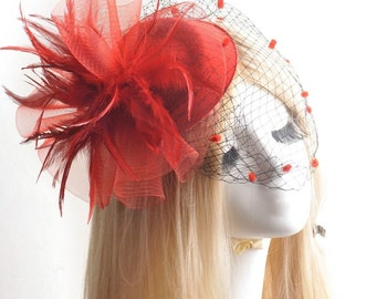 Stunning RED Feather Fascinator Hair Clip Pillbox Tea Hat Sinamay Headpiece For Weddings, Dress up, Bridal Showers, Tea time #515