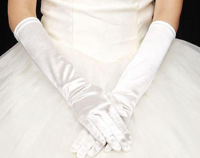 White Satin ELBOW Length Ladies Gloves Perfect for Opera, Wedding, Bridal, Party, Prom, Prop, Bridesmaid Gift #A984