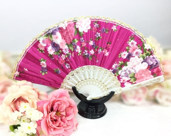 Pink Rhinestone & Floral Lace Floral Folding Fan For Weddings, Dress up, Bridal Showers, Gift, Tea Party, Tea Time, Church #A628