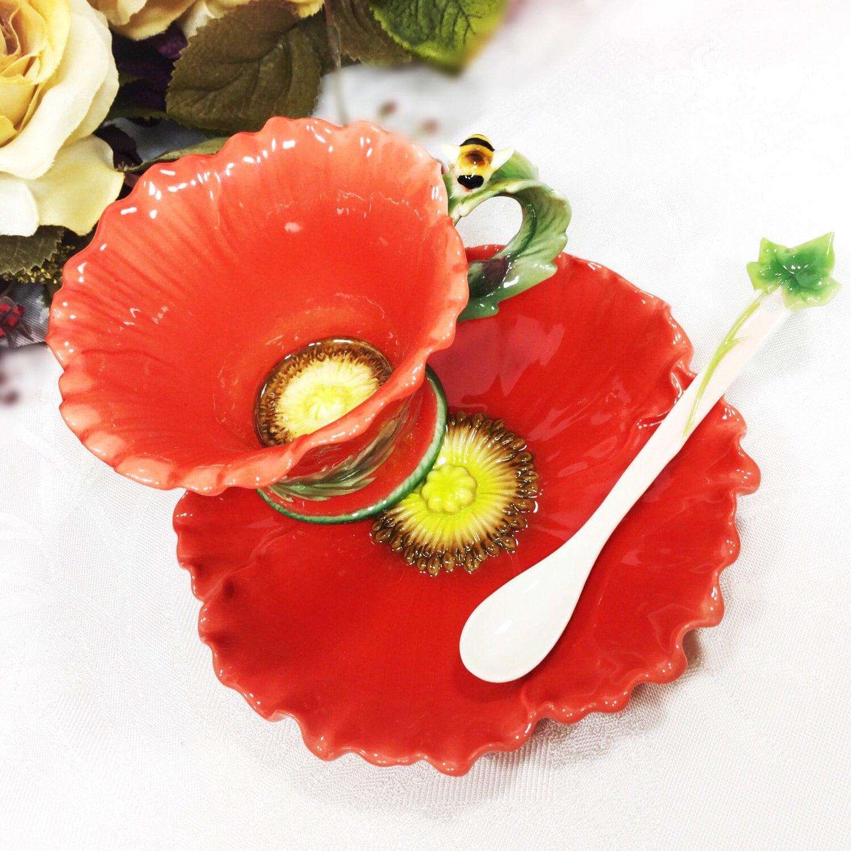 Ceramic Red Flower Tea Trio Tea Service Tea Set Cup Saucer Spoon