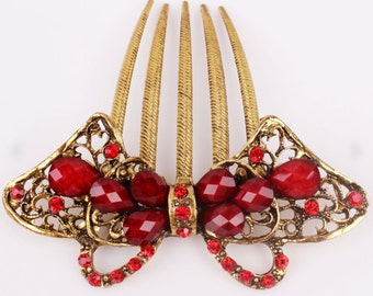 Austrian Crystal Red & Gold Colored Hair Comb Pin, Hair Jewelry, Bridesmaid, Gift #A354