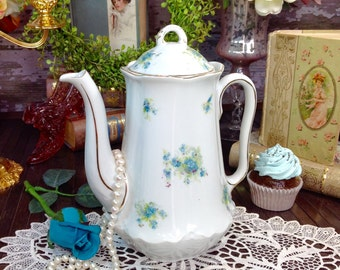 Dainty LS&S Carlsbad Austria Blue Floral Gilt Garden Shabby Chic Teapot Coffee Pot Tea Party Wedding Bridal or Baby Shower, Tea Time #297