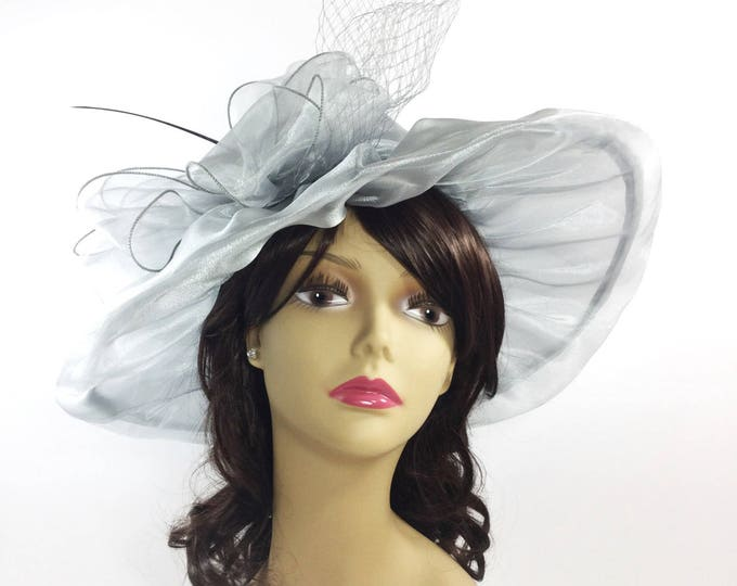 Chic Ladies Sheer Grey Silver Organza Tea Party Hat, Summer Hat, Dress Up Hat, For Weddings, Dress up, Bridal Showers, Tea time