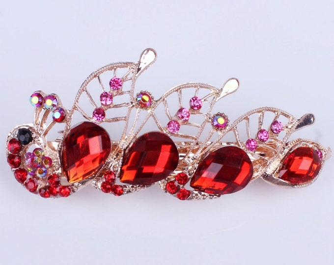 Red Austrian Crystal Peacock Hair Clip, Rose Gold Colored Hair Clip, Red Peacock Hair Pin, Hair Jewelry, Bridesmaid, Gift #A339