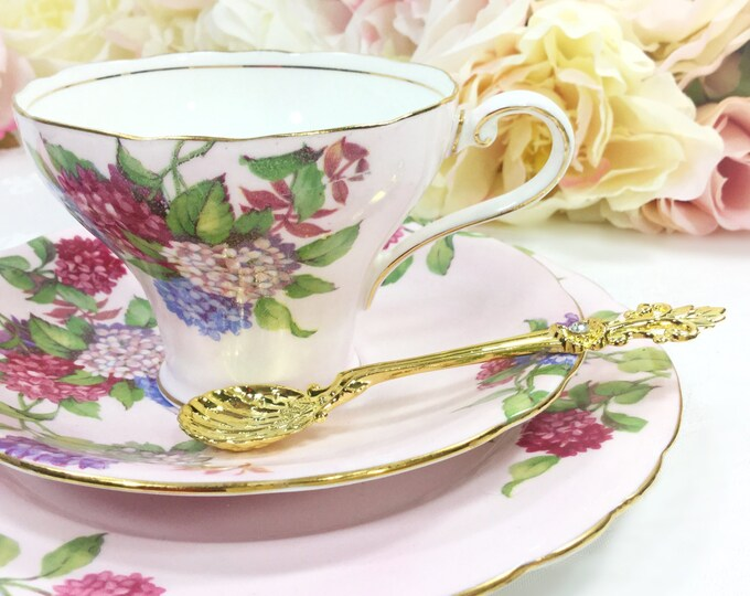 Pink Aynsley English Tea Trio, Pink Floral Bone China English Tea Cup, Saucer, Plate For Tea Time, Tea Party, Wedding. England #A246