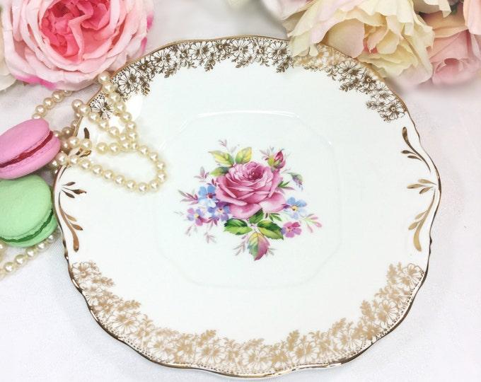 Balfour China Foral English Cake Plate, Fine Bone China Serving Plate for Tea Set, Tea Party, Wedding, England #A285