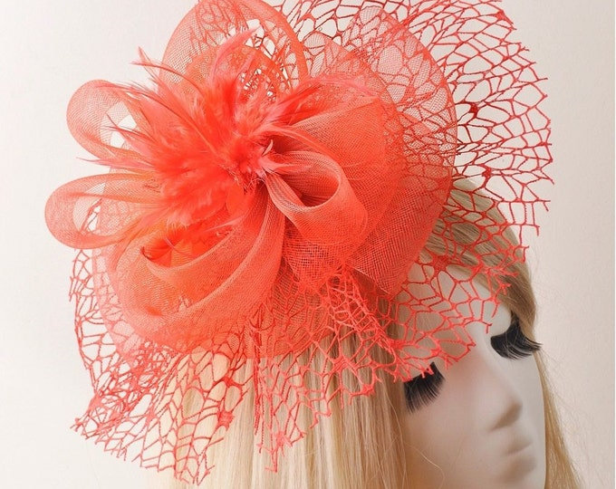 Stunning RED Feather Fascinator Hair Clip Tea Hat Sinamay Headpiece For Weddings, Dress up, Bridal Showers, Gift, Tea time #499