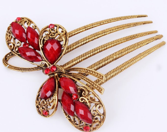 Red & Gold Colored Antique Austrian Crystal Hair Comb Pin Christmas, Bridesmaid Gift #A252