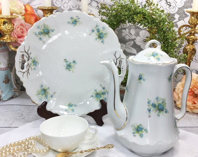 LS&S Carlsbad Austria Gilt Dainty Blue Florals Double Handled Cake Plate Perfect for Weddings, Tea Set, Tea Party, Showers, Gift #516